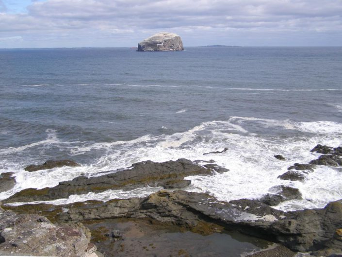 Bass Rock and Isle of May from Tantallon Castle