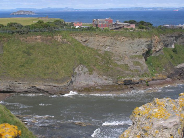View from Tantallon Castle to W showing Gin Head vent